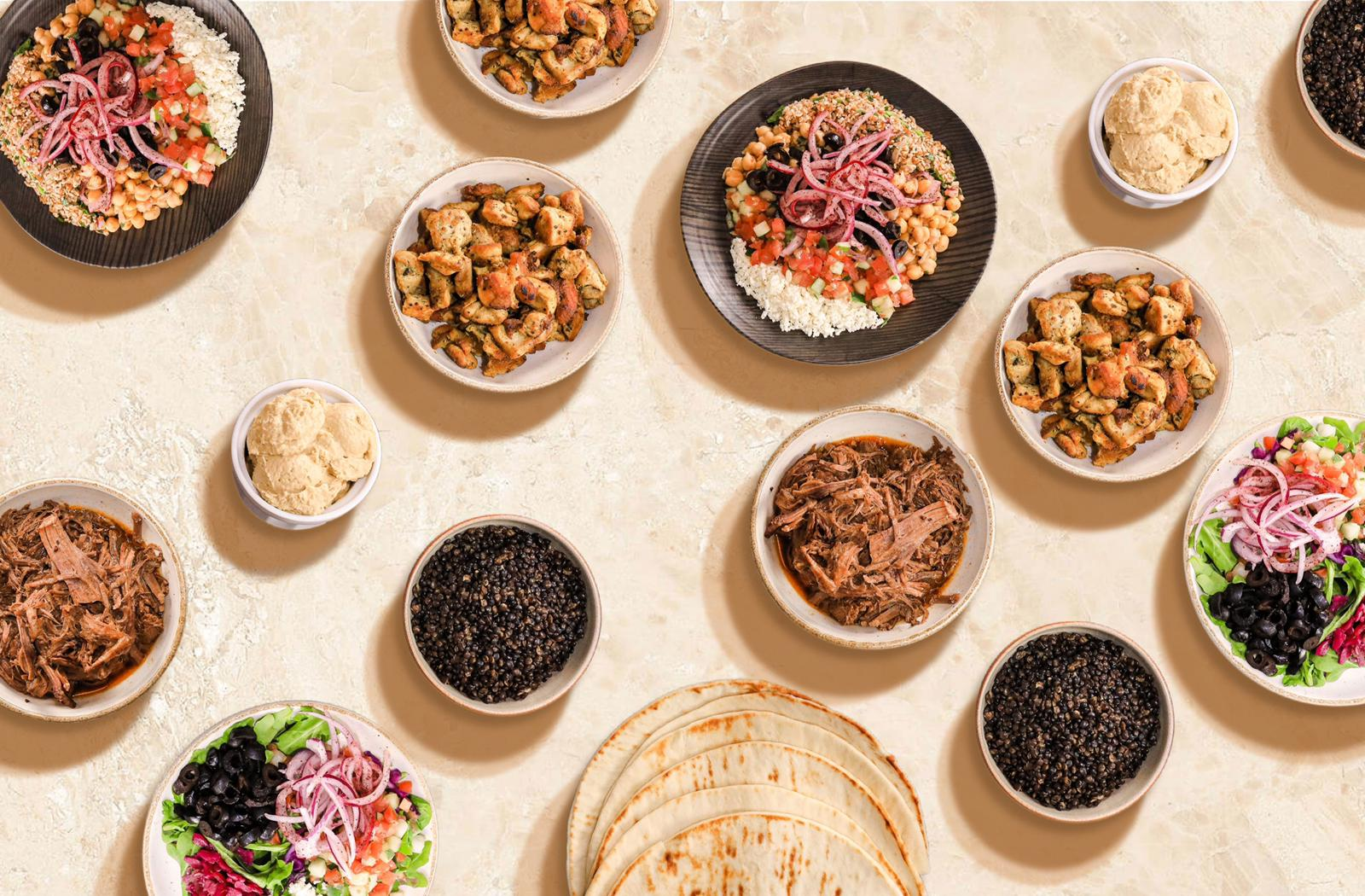 A variety of Mediterranean dishes on a table