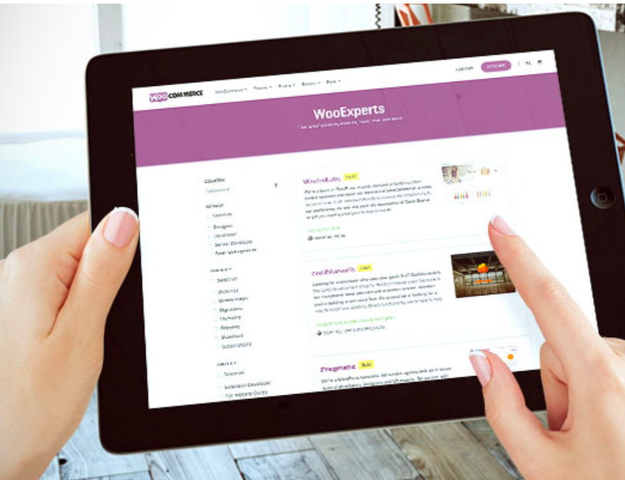 View of a WooCommerce website on a tablet