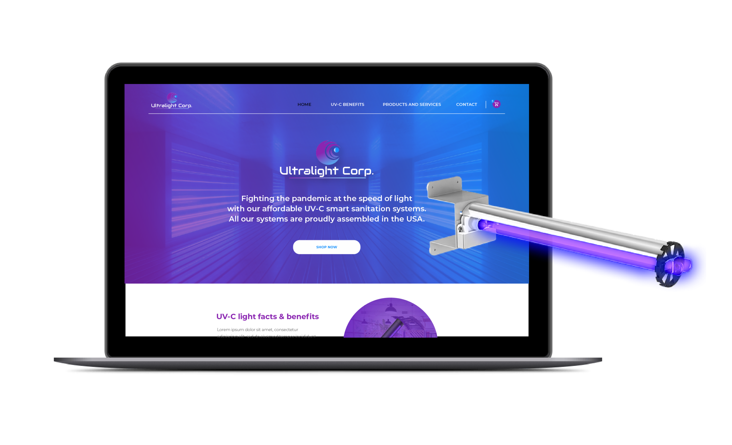 Ultralight system website showing on a laptop