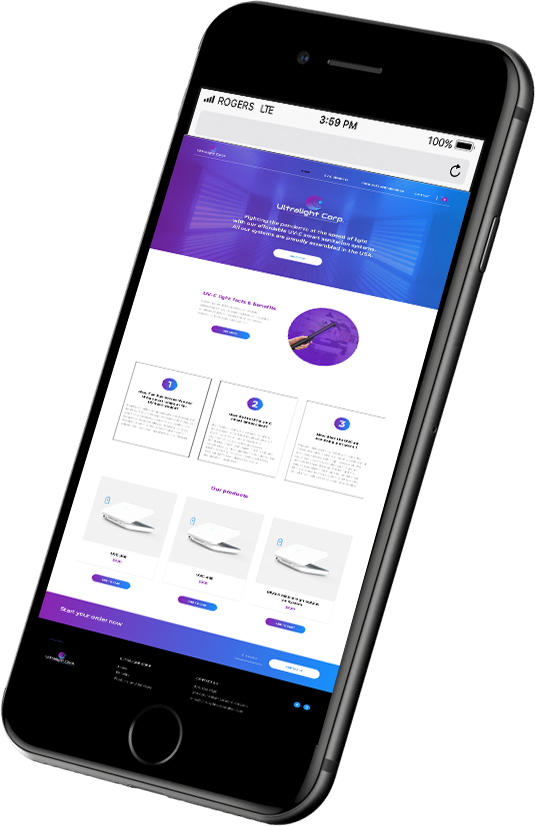 Ultralight System website showing their products on a phone mock up