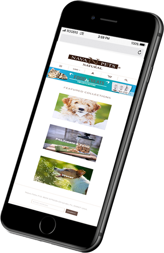 Nava pets website showing on a phone